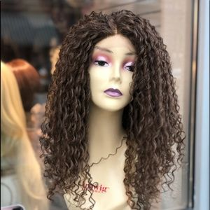 Soft Swisslace golden brown Curly Ethnic Wig 2019